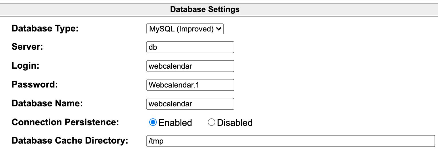 WebCalendar Install Wizard Settings